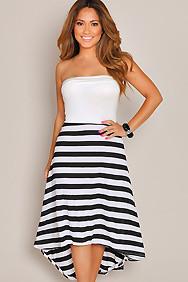 Strapless White Top Stripes High Low Maxi Dress