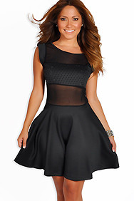 Onyx Black Beaded Mesh Inset Skater Dress
