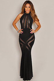 """Gabrielle"" Black Long Mesh Cut Out Dress"