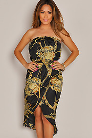 Strapless Black Treasure Chain Maxi Dress