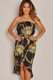 Strapless Black Treasure Chain Maxi Dress