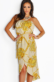 Strapless Light Yellow Treasure Chain Maxi Dress