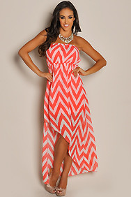 Trendy Coral Chevron Diagonal High Low Dress