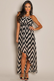Trendy Black Chevron Diagonal High Low Dress
