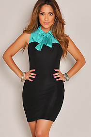 Black and Teal Collared Neck-tie Formal Dress