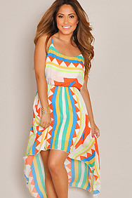 Multi-color Geo Print High Low Maxi Dress