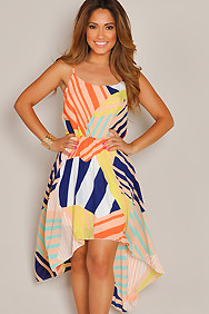 Multi-color Abstract Print High Low Maxi Dress