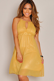 Sleeveless Warm Yellow Flower Empire Waist Dress