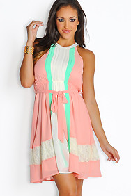 Sleeveless Multi-Peach Pink Pleated Dress