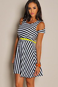 Sexy Stripe Anomaly Belted Open Shoulder Dress