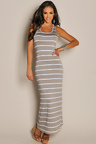 Casual Grey and White Stripes Tank Maxi Dress