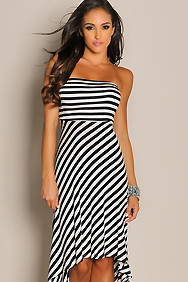 Sexy Slant Stripes High Low Maxi Dress