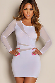 """Cherise"" White Mesh Cut Out Long Sleeve Mini Dress"