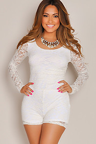 """Carmen"" White Back Cut Out Long Sleeve Lace Romper"
