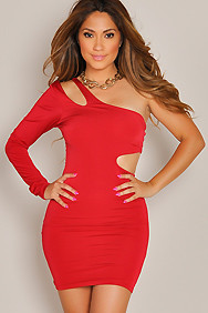 """Natalia"" Red One Shoulder Side Cut Out Party Dress"