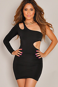 Sensational Black One-Sleeve Cut-Out Dress