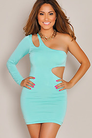 Sensational Mint Green One-Sleeve Cut-Out Dress