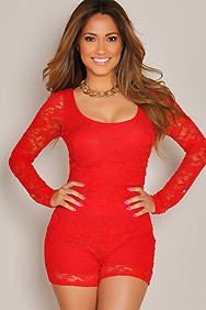 Long Sleeve Cherry Red Lace Romper