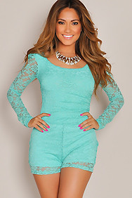 """Carmen"" Mint Back Cut Out Long Sleeve Lace Romper"