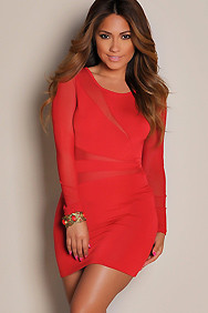 """Cherise"" Red Mesh Cut Out Long Sleeve Mini Dress"