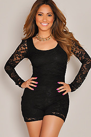 """Carmen"" Black Back Cut Out Long Sleeve Lace Romper"