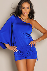 Sexy Electric Blue One-Sleeve Romper