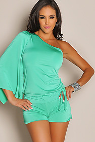 Sexy Lush Mint One-Sleeve Romper