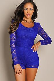 """Carmen"" Royal Blue Back Cut Out Long Sleeve Lace Romper"