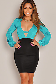 Sexy Teal and Black V-Neck Long Sleeve Dress