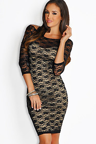 Sexy Black Lace Contrast Sheath Dress
