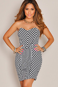 Sexy Stripe Illusion Strapless Fitted Dress