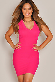 Sexy Hot Fuchsia Textured Bodycon Dress