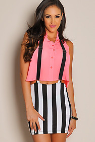 Sheer Neon Pink Button-Down Crop Top
