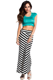 Black and White Angled Stripes Maxi Skirt