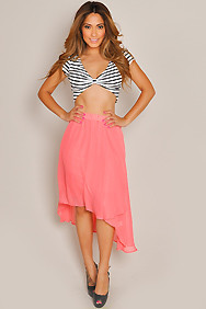 Blush Coral Wrap High Low Chiffon Maxi Skirt