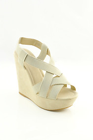 Neutral Beige 'Mulan' Strappy Wedge Sandals