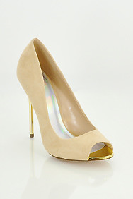 Nude 'Dash' Peep Toe Golden Heel Stilettos