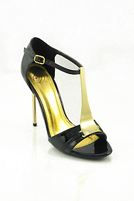 Black Patent 'Honor' Gold T-Strap High Heel Sandals