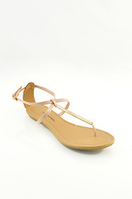 Nude Patent 'Elaine' Gold Bar Flat Sandals