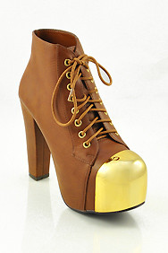 Tan 'Yelp' Gold Cap Lace-up Platform Ankle Boots