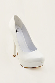 White 'Jones' Patent Leather Platform Heels