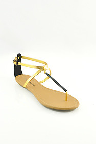 Black and Gold Patent 'Elaine' Thong Flat Sandals