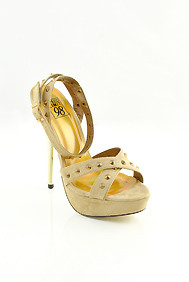 Oatmeal Beige 'Coris' Studded Golden Heel Sandals