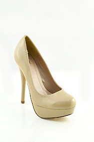 Dark Beige 'Jones' Patent Leather Platform Heels