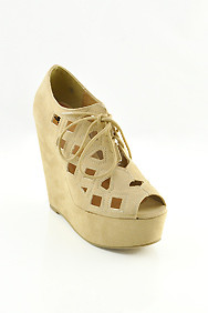 Beige 'Resist' Cut-Out Lace-Up Wedge Shoes