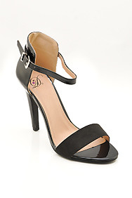 "Black ""Stick"" Ankle Strap High Heel Sandal"