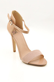 "Beige ""Stick"" Ankle Strap High Heel Sandal"