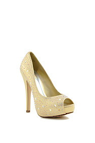 Gold Shimmer 'Lorica' Rhinestone-Bedazzled Peep Toe High Heel Pumps