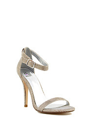 Gold Shimmer 'Chacha' Ankle Strap High Heel Dress Shoes