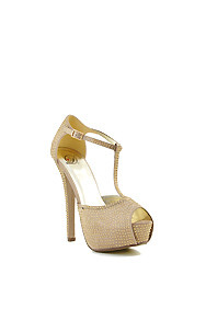 Gold Satin 'Onion' T-Strap Rhinestoned High Heel